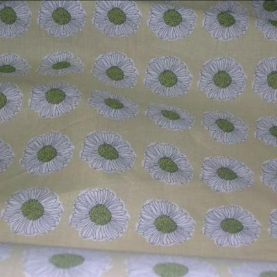 Coton jaune paille paquerettes coeur tilleul 3