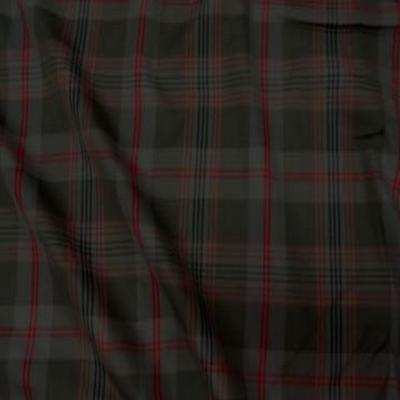 Coton kaki rouge imprime tartan 1