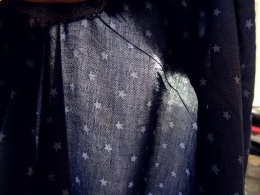 Coton viscose bleu marine étoilé 04