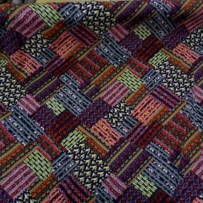 Coton viscose imprime patchwork ton de rose1