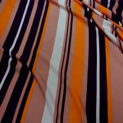 Coton viscose raye marine orange et chair