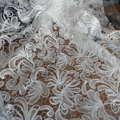 résille motifs tissu cousu façon guipure blanc 01
