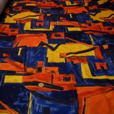 Coupon jersey polyester bleu jaune orange