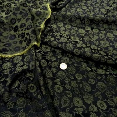 Crepe satin lycra noir et vert 1