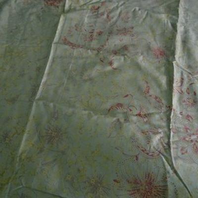 Gabardine coton lycra vert pâle-or 1