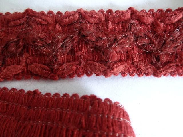 Galon laine et velours groseille 3