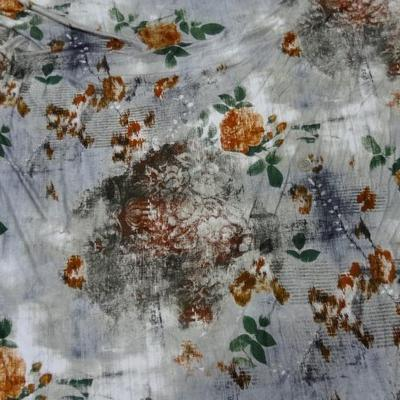 Jersey camaïeu gris-bleu imprimé fleurs ocres