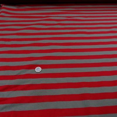 Jersey coton lycra raye taupe rouge1