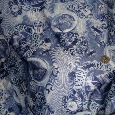 Jersey coton réversible gris médaillons bleus 1