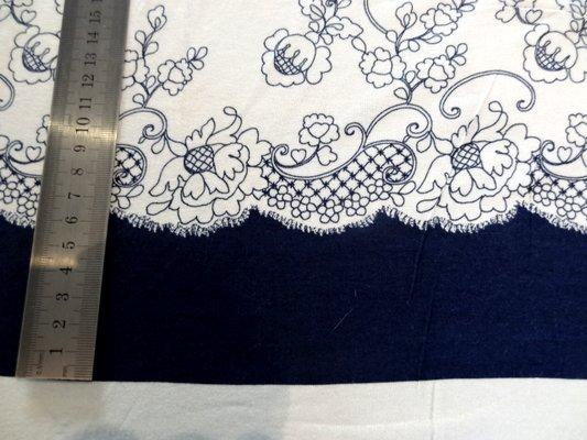 Jersey viscose bleu blanc dentelle 02