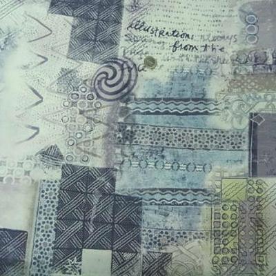 Jersey viscose lycra gris bleute motifs ecritures et symboles 1
