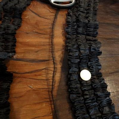 1.30 m Tulle noir plissé Bas de jupe froncé