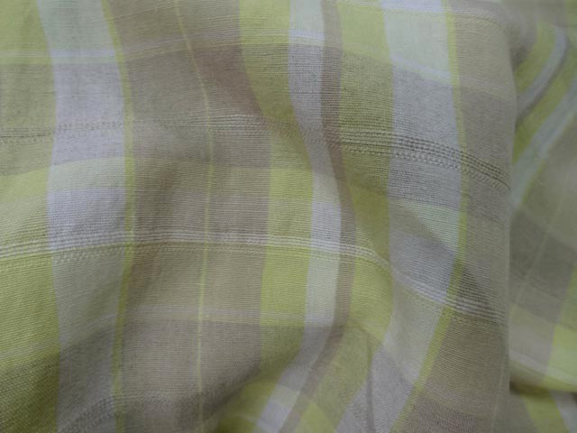 Lin blanc casse taupe jaune carreaux 1 3