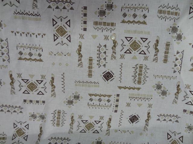 Lin blanc motifs symboles africains 7