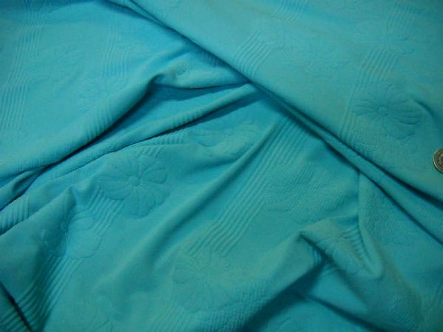 Lycra bleu celeste frappe rayures fleurs en relief 1