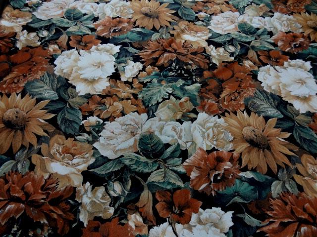 Lycra imprime fleurs ton de terre 1