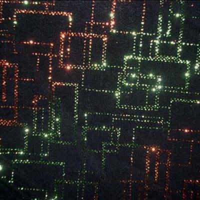 Lycra paillettes matrice orange-vert 3