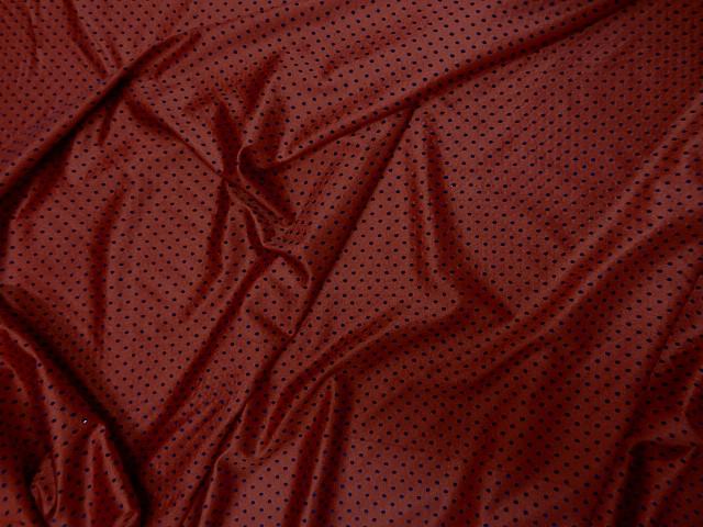 Lycra rouge flamenco a pois velours bleu nuit 2