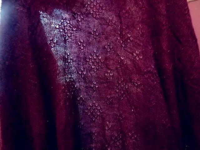 Maille laine melange motif picot prune 3