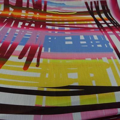 Mousseline crepon grand motif traits de couleurs 6