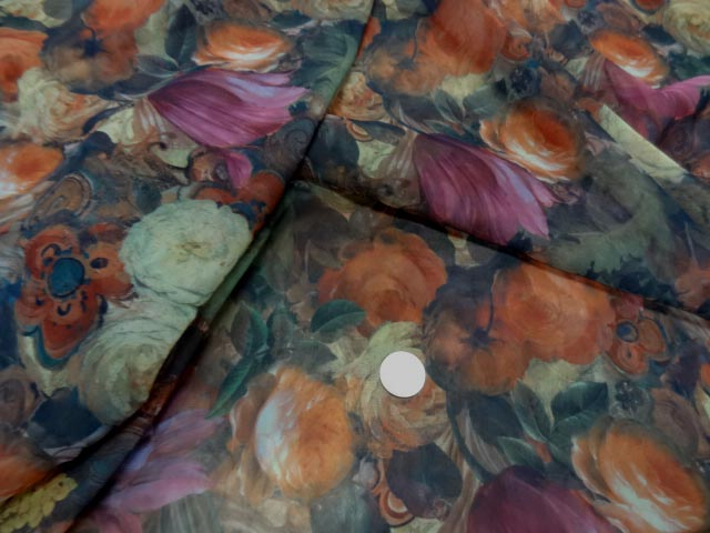 Mousseline polyester imprimee fleuri