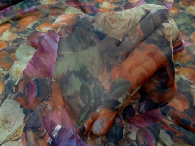 Mousseline polyester imprimee fleuri 3 1