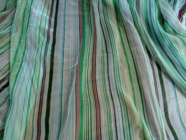 Mousseline soie raye menthe 02