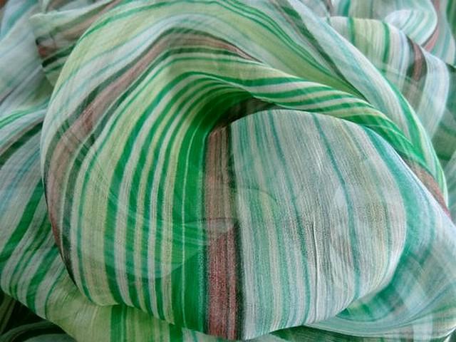 Mousseline soie raye menthe 03