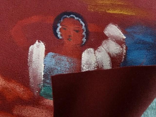 Piece patchwork en suedine bordeaux peint a la main