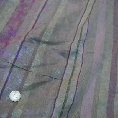 Polyester coton anis glycine raye