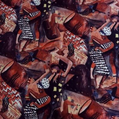 Pur coton veloute motifs danseuses africaines et djembe1