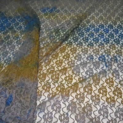 Resille dentelle chatain bleu ocre 1