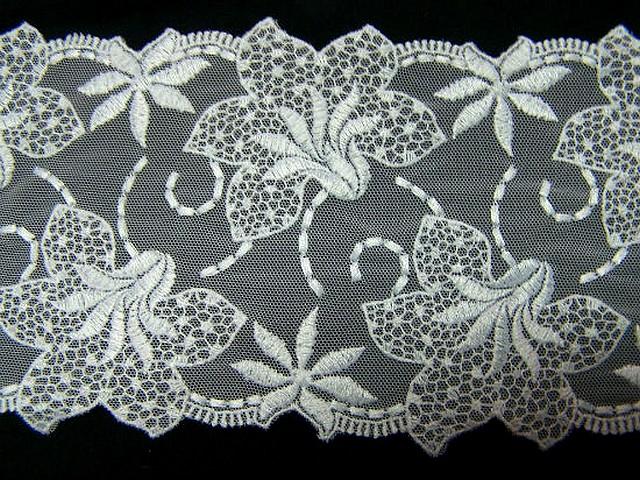 Resille dentelle en galon blanc brodee fleurs de lys 3