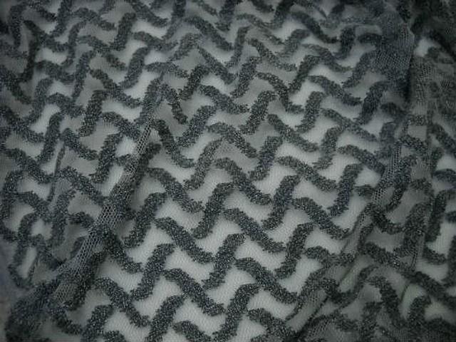 Resille lycra motif croisillons en relief gris 1