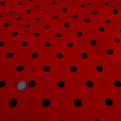 Tergal lin rouge pois noirs 01