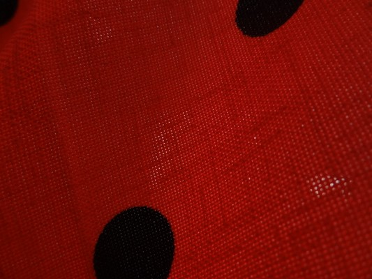Tergal lin rouge pois noirs 04