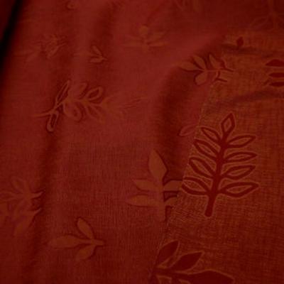 Tissu melange corail orange motifs damasses sorbier 1
