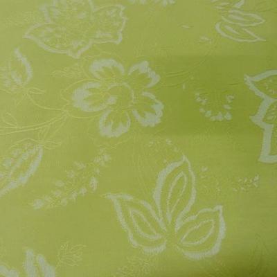Toile coton anis clair faconne fleurs 1