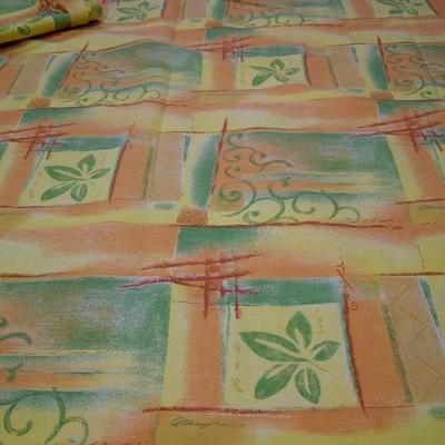 Toile coton imprimée jaune-orange-vert 1
