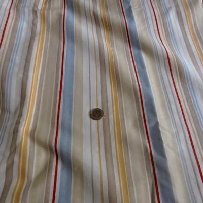 Toile coton rayée beige-ocre-bleu ciel-rouge 01