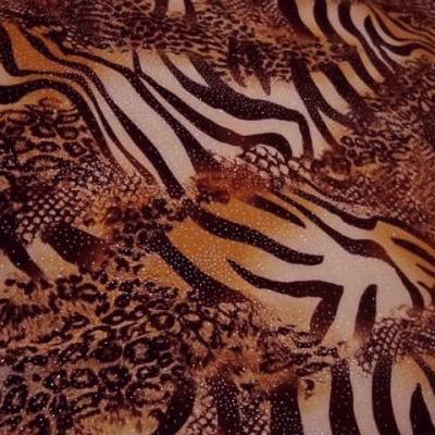 Velours aubergine reversible motifs zebre serpent leopard 1