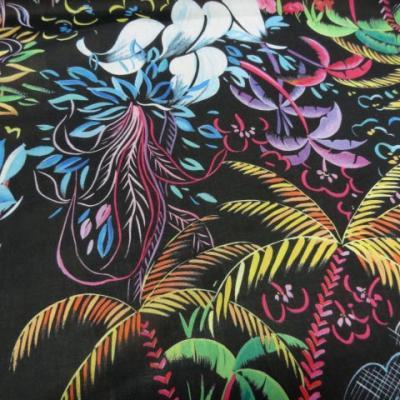 Voile coton soie noir palmiers 2