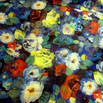Voile de coton roses de jardin tons bleus 3