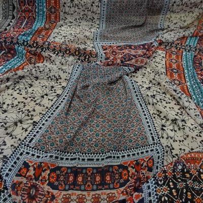 Voile viscose motifs hindous ambre bleu 1