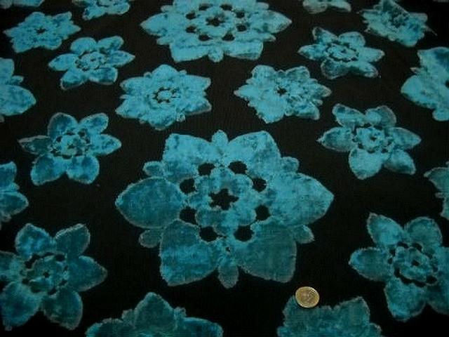 Ameublement marron devore fleur velours bleu paon 1 2