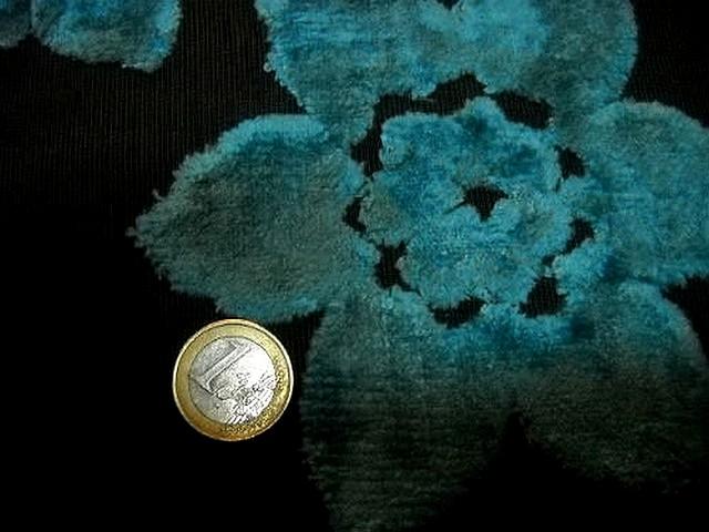 Ameublement marron devore fleur velours bleu paon 1 3