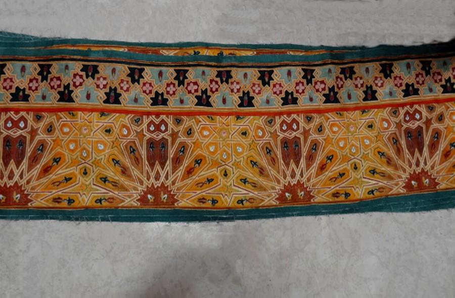 Bande de velours de coton azteque ocre 1
