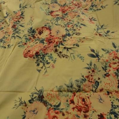 Bengaline coton fond beige safran roses d antan 1