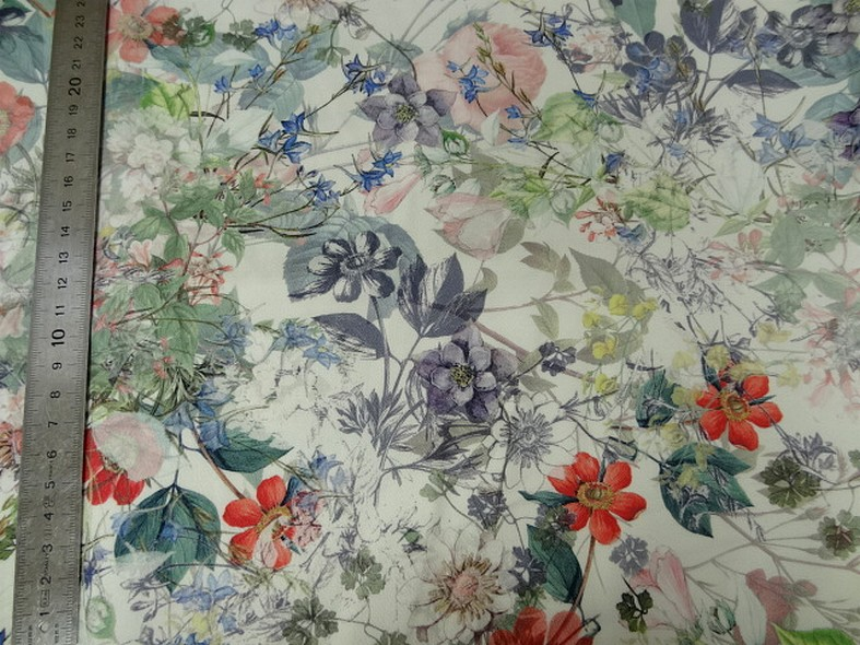 Bengaline coton fond blanc fleurs champetre 1