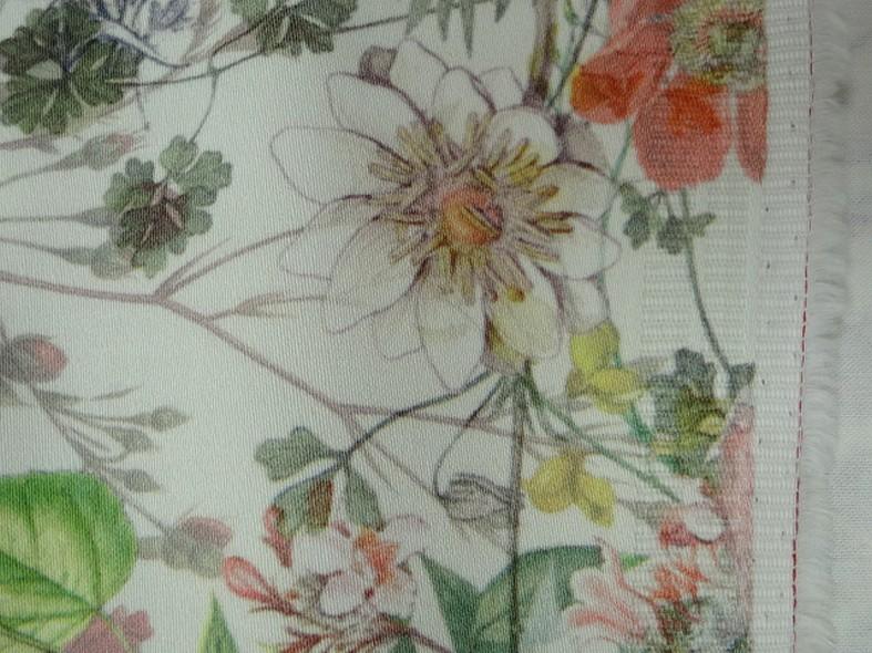 Bengaline coton fond blanc fleurs champetre 2